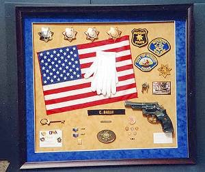 Shadow boxes are a great way to display military or career memorabilia.