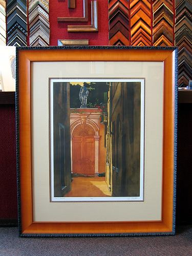custom framing with fillets and hand wrapped fabric mats
